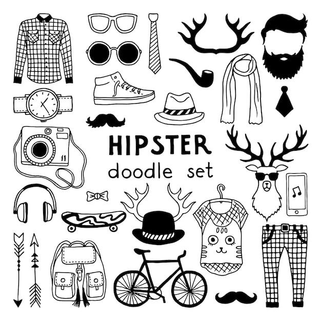 Vector doodle conjunto com elementos de estilo diferente de hipster Vetor Premium