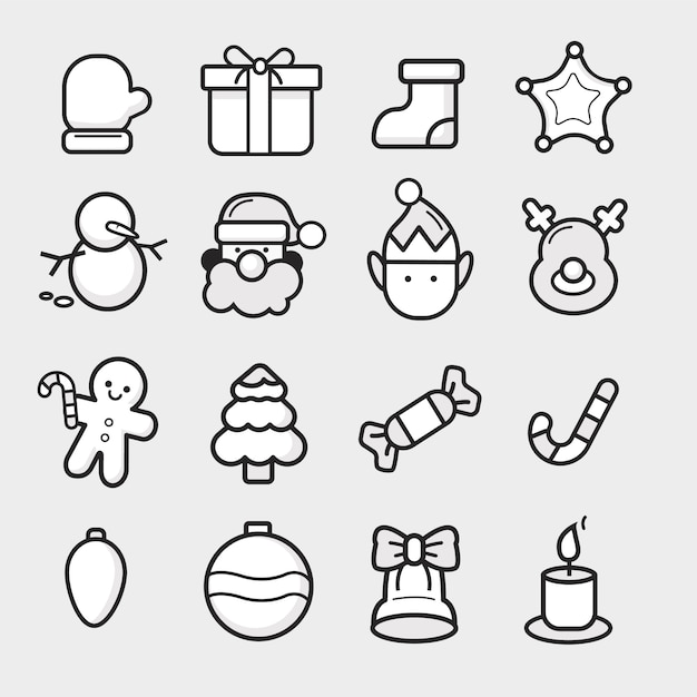 Vector em tons de cinza e preto conjunto de ícones de natal Vetor Premium