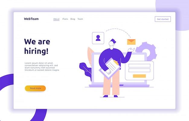 Vector equipe e banner de página da web de estratégia de negócios Vetor Premium