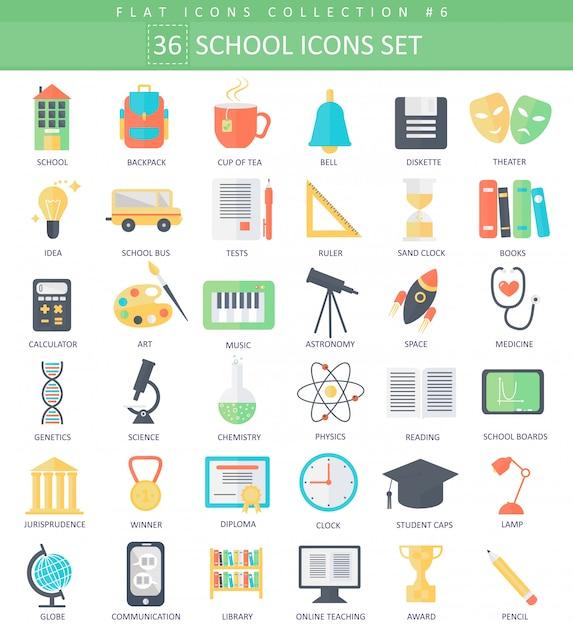 Vector escola cor plana conjunto de ícones. design de estilo elegante. Vetor Premium