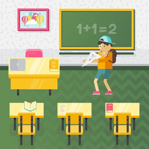 Vector estilo plano escola ilustração de classe Vetor Premium
