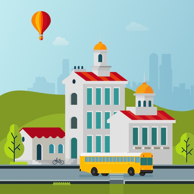 Vector estilo simples cityscape edifícios ilustração Vetor Premium