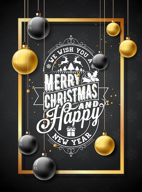 Vector Feliz Natal Ilustração em fundo preto de textura de floco de neve Vetor Premium