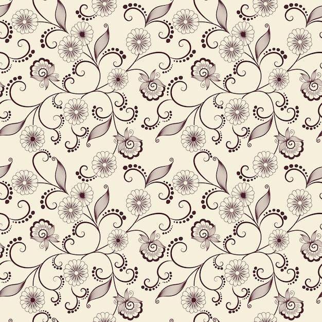 Vector flor padrão padrão sem costura. Textura elegante para fundos. Ornamento floral de moda clássica de luxo, textura sem costura para papéis de parede, têxteis, embrulho. Vetor grátis