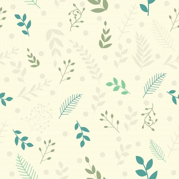 Vector folhas padrão em estilo doodles Vetor Premium