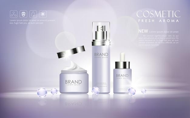 Vector garrafa cosmética mock-se transparente e brilhar em fundo de bokeh Vetor Premium