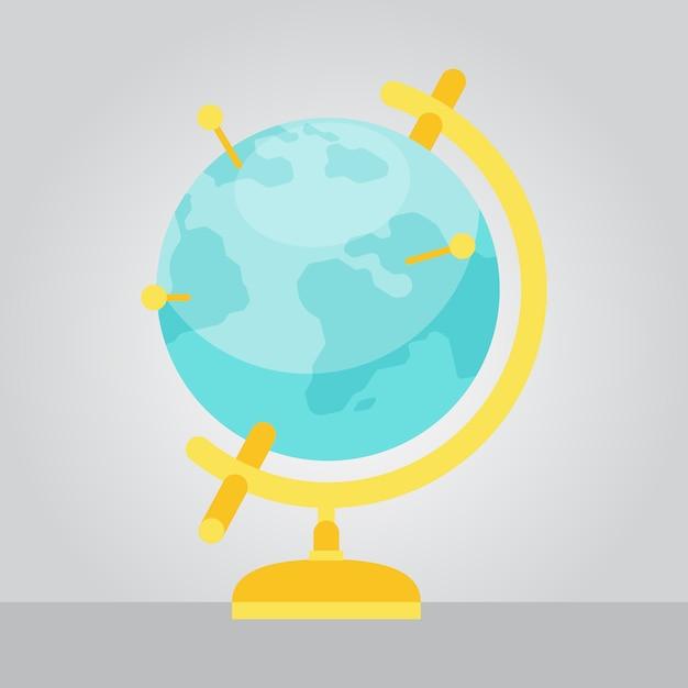 Vector geographic globe ilustração estilo plano Vetor Premium