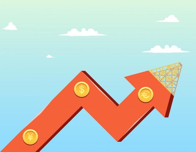 Vector illustration cartoon crescimento empresa economia Vetor Premium