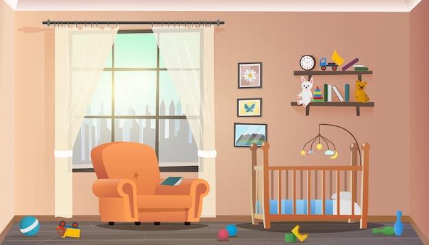 Vector illustration concept crianças quarto interior Vetor Premium