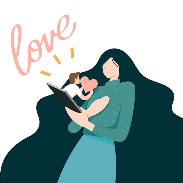 Vector illustration, woman receber mensagem de amor no celular Vetor Premium