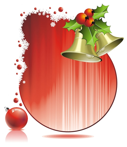 Vector ilustração do natal com azevinho e sinos no fundo vermelho Vetor Premium