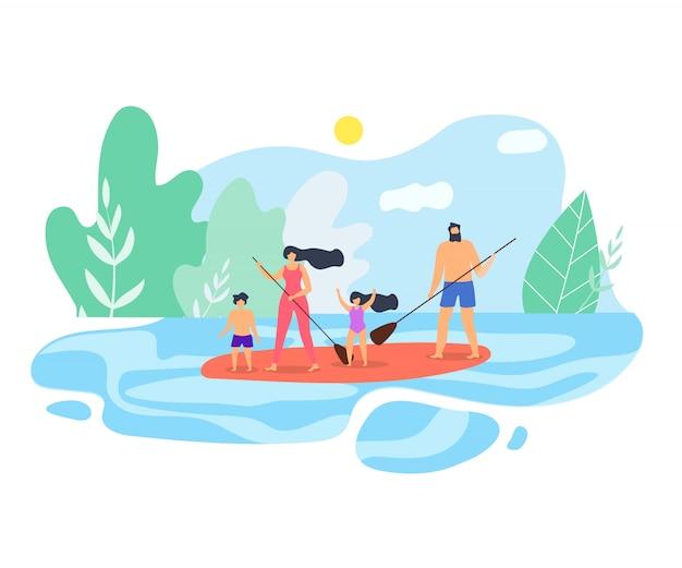 Vector ilustração plana férias em família no lago Vetor Premium