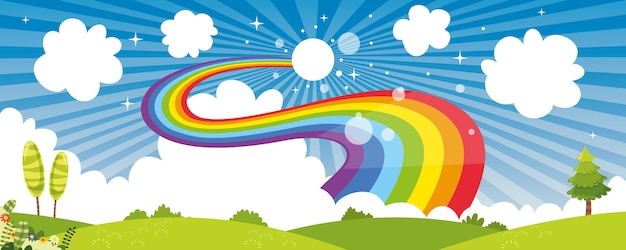 Vector ilustration da cena da natureza colorida Vetor Premium