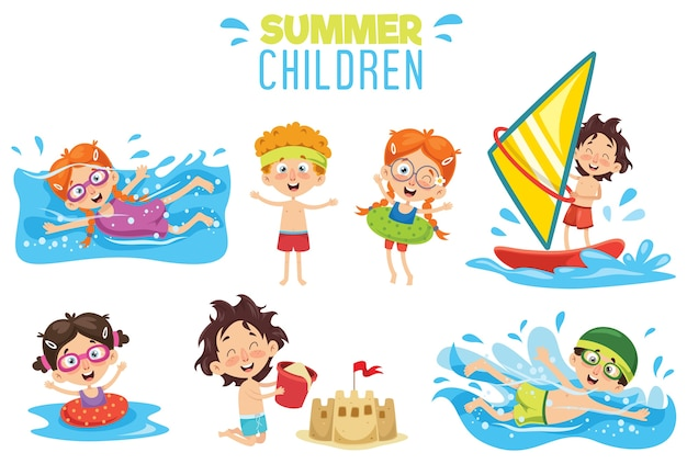 Vector ilustration de crianças de verão Vetor Premium
