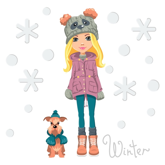 Vector linda garota na moda com um chapéu engraçado e um panda com focinho de cachorro Vetor Premium