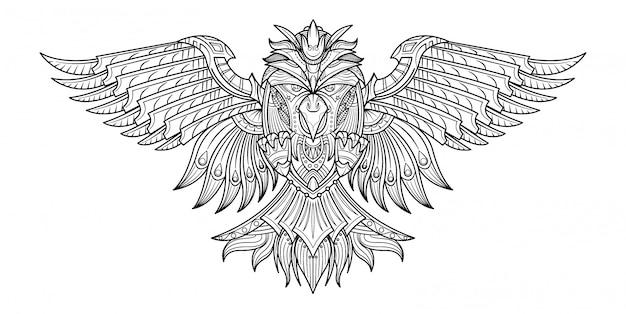 Vector mão desenhada livro de colorir aves na minha imaginação. Vetor Premium