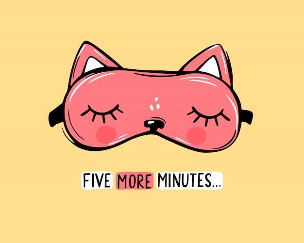 Vector máscara de sono vermelha em forma de gato e cite mais cinco minutos. cartão fofo vendada Vetor Premium