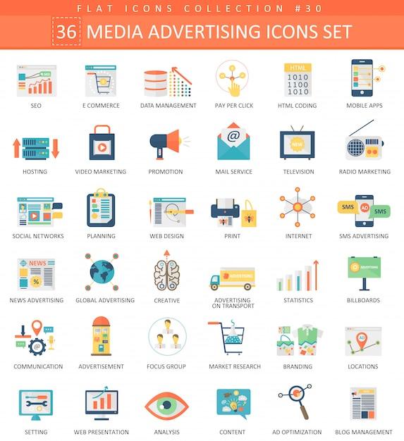 Vector media publicidade cor plana ícone definido. design de estilo elegante. Vetor Premium