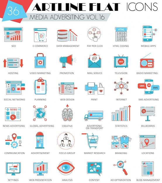 Vector media publicidade ultra moderno contorno artline linha plana ícones para web e aplicativos. Vetor Premium
