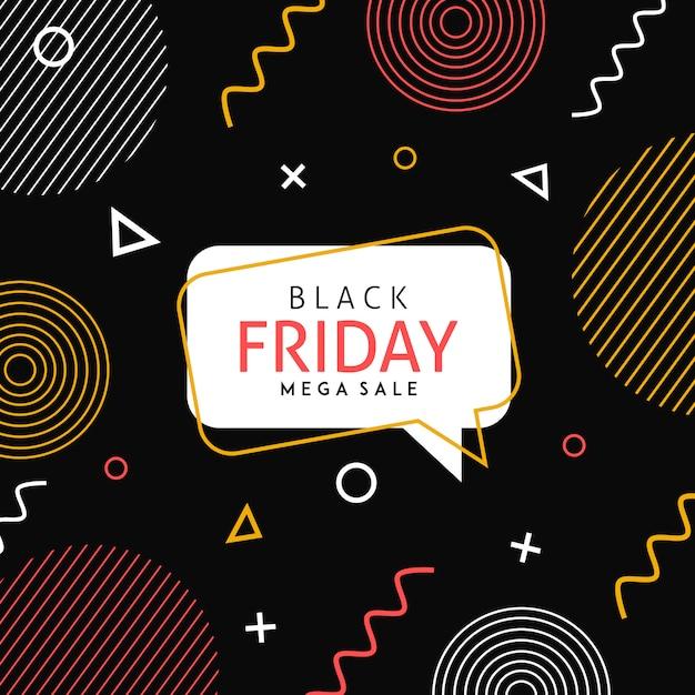 Vector memphis black sexta-feira fundo Vetor Premium