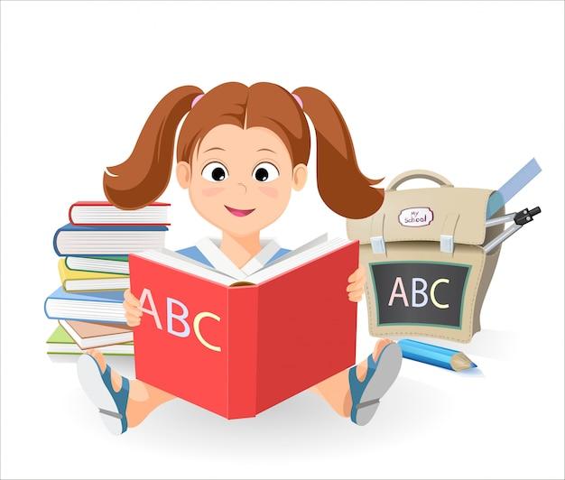 Vector menina sorridente com o livro aprenda o alfabeto. uma pilha de livros. o saco da escola Vetor Premium