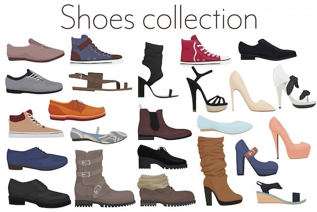 Vector moderno conjunto de calçado de sapatos masculinos e femininos Vetor Premium