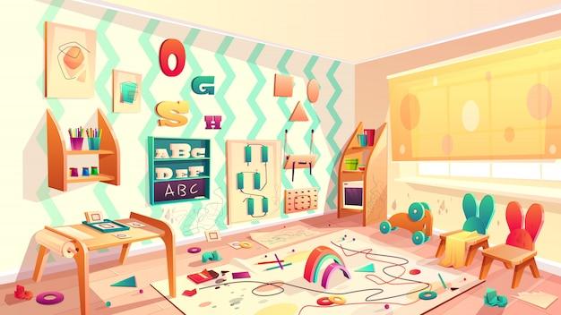 Vector montessori sala com manchas de tinta, escola primária com lixo Vetor grátis