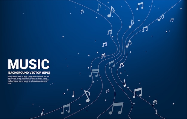 Vector music melody note dança fluxo Vetor Premium