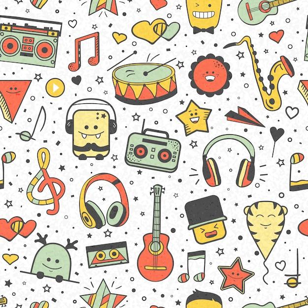 Vector musical padrão, estilo doodle. textura musical sem costura. elementos de design de mão desenhada: notas e fones de ouvido, jogador, instrumentos musicais. Vetor Premium
