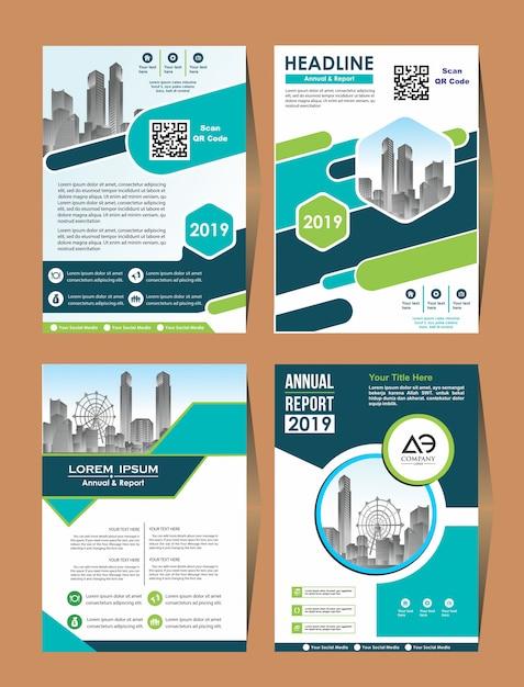 Vector negócios conjunto capa design flyer em a4 Vetor Premium