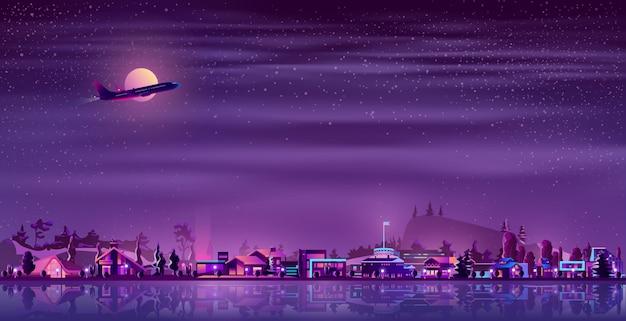 Vector néon fisher aldeia à noite, zona rural Vetor grátis