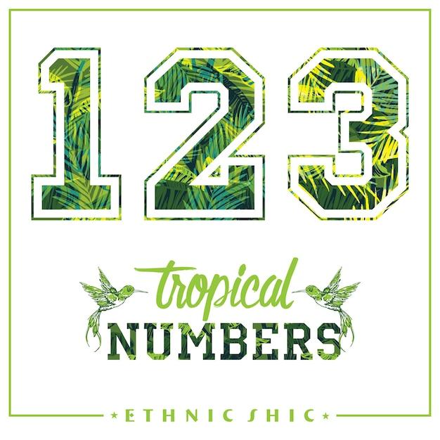 Vector Numeros Tropicais Para T Shirts Cartazes Cartoes E Outros