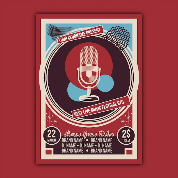 Vector of vintage music event modelo de cartaz Vetor Premium