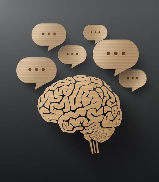 Vector papelão do cérebro Vetor Premium