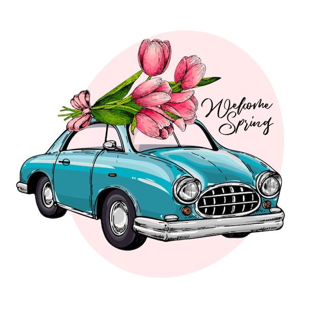 Vector páscoa carro dirigindo um buquê de tulipas. Vetor Premium