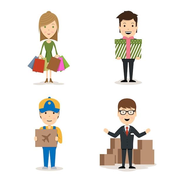 Vector people comprando personagens com uma mulher com sacolas, um homem segurando um presente, um entregador com um pacote de frete aéreo e um vendedor fazendo uma promoção de produtos Vetor grátis