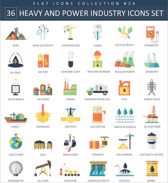 Vector pesados e ícones plana de indústria de energia Vetor Premium
