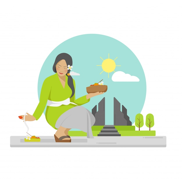 Vector plana de rezar mulher balinesa Vetor Premium