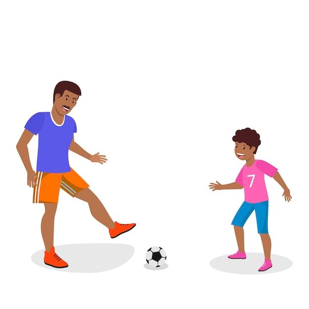 Vector plana pai em laranja shorts treina filho. Vetor Premium