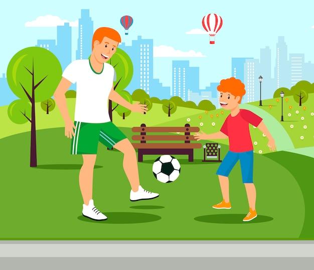 Vector plana pai ensina joga futebol com o filho. Vetor Premium