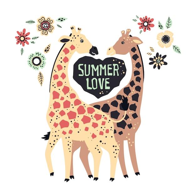 Vector planas mão desenhada girafas, rodeadas por plantas tropicais e flores. Vetor Premium