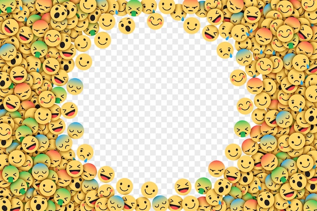 Vector plano facebook emoji ilustração Vetor Premium