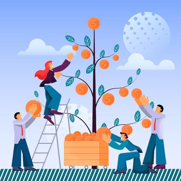 Vector plano teamwork empresa empresa jovem recolhe. Vetor Premium