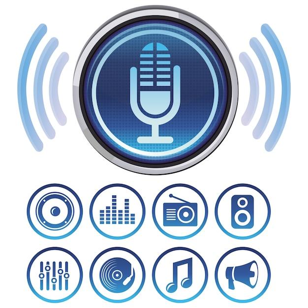 Vector podcast ícones e símbolos para aplicativos de áudio Vetor Premium