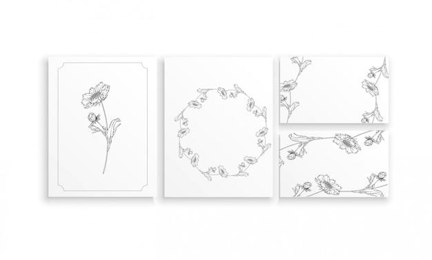 Vector preto e branco contorno arranjo de flores com flores de camomila Vetor Premium