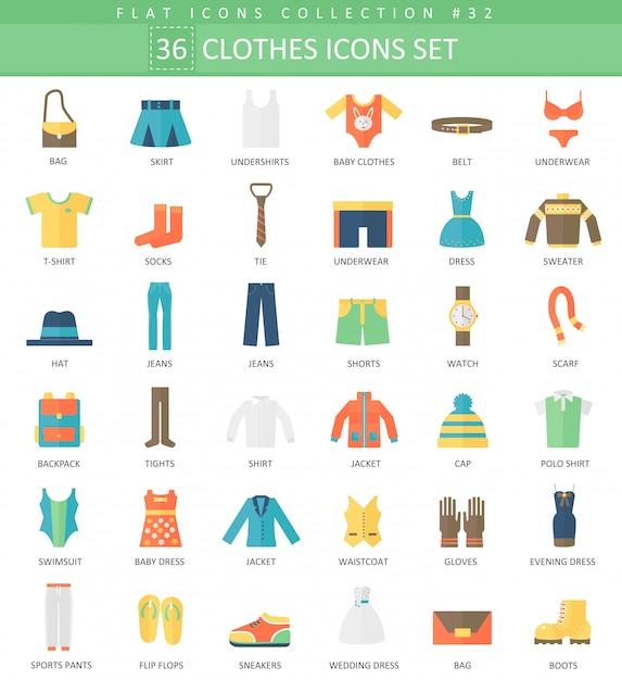 Vector roupas conjunto de ícones plana de cor Vetor Premium