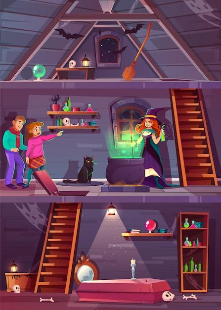 Vector seção transversal da casa de bruxa com adega e sótão. jogo quest, fundo rpg com jogadores, Vetor grátis