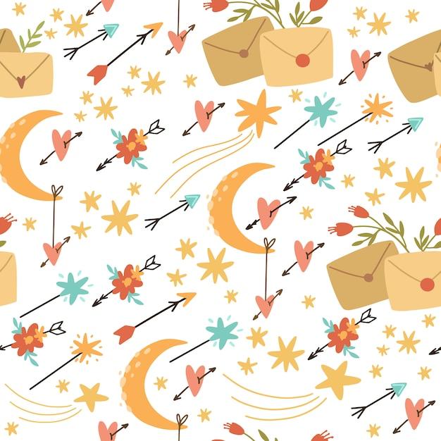 Vector sem costura padrão boho estilo, flechas e com flores. correio romântico. use para papel de parede, design, papel de embrulho Vetor Premium
