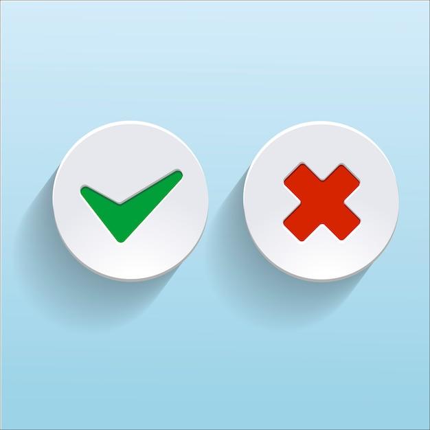 Vector sim e sem marcas de seleção em círculos Vetor Premium