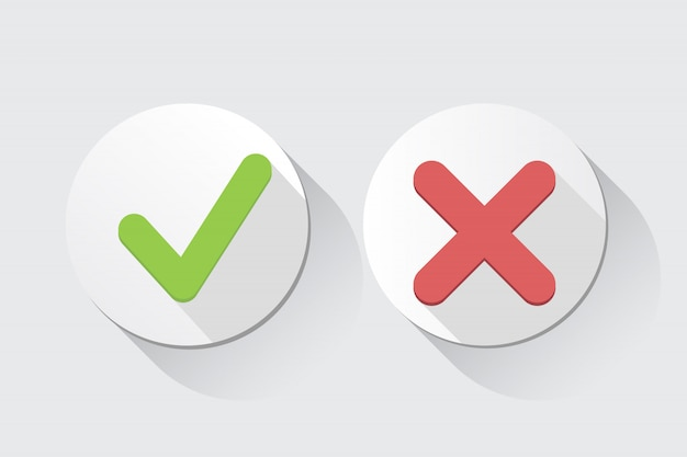 Vector sim e sem marcas de verificação Vetor Premium